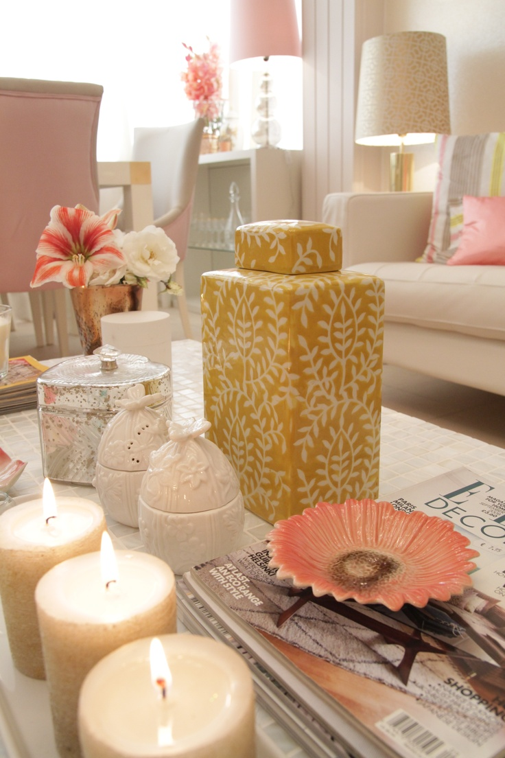 Project by Ana Antunes for the tv home makeover show - Coral geometric fabrics and rug, Mother pearl materials, Big round white mirror, Ikea vittjo shelves painted gold, caitlin wilson fabrics, designer's guild fabrics, pastel shades, cofee table details