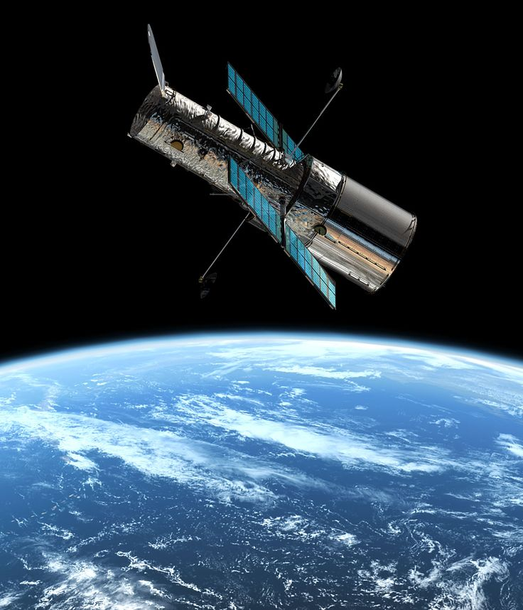 The Hubble Telescope in orbit around earth: It is a telescope stationed in space in order to avoid the light distortions causes by the atmosphere. Thus, the Hubble Telescope take pictures much clearer and from objects much further away than from any earth-bound telescope.