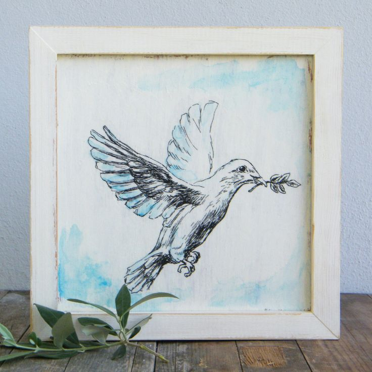Framed picture, White dove sketch, Print on wood, Biblical wall art, Wood signs, Shabby chic, Mothers day gift by Rachelsfinelines on Etsy