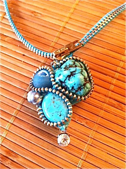 Turquoise Stones Zipper Necklace by ArtologieDesigns on Etsy, $45.00