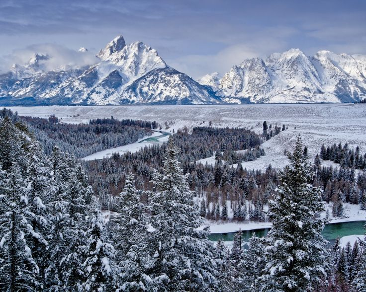 гранд-титон, национальный парк, сша, горы, долина, снег