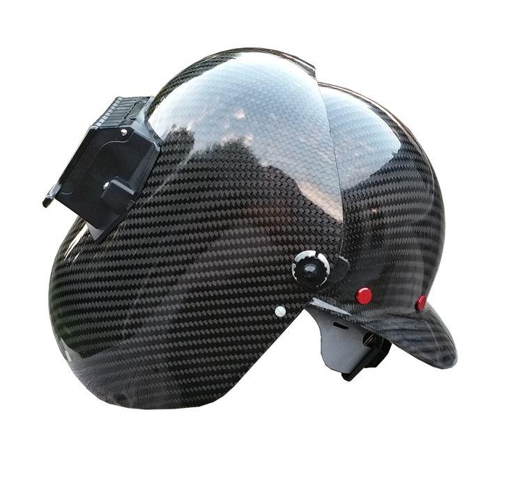 Coloured carbon fiber hard hat welding hood combo
