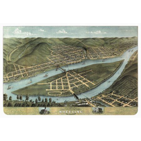 Vintage Map of Wheeling West Virginia 1870 Cook County Canvas Art - (18 x 24)
