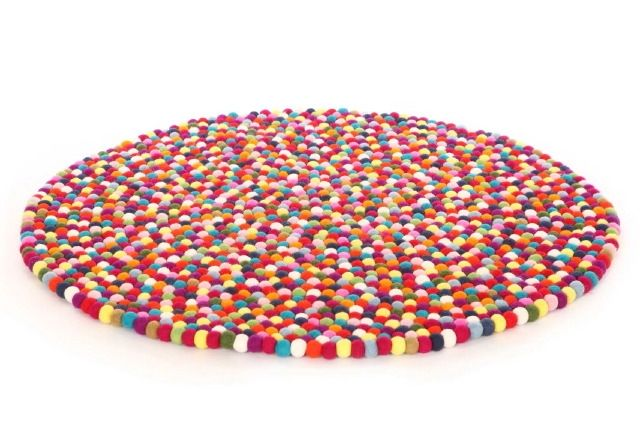 hardtofind. | Large original Larry felt ball rug