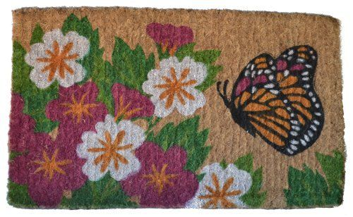 Imports Decor Printed Coir Doormat, Butterfly Garden, 18-Inch by 30-Inch by Imports Décor. $24.58. Handwoven 100-percent coir fibre naturally bleached with sea water. Colorful butterfly and flower design. Measures 30-inch by 18-inch by 1-1/2-inch. Stenciled with fade-resistant dyes. Durable, waterproof and superior scubbing power. Enhance the entrance of your home with this high quality, hand-tufted coir doormat from imports decor. Handwoven from the best quality coir, and ...