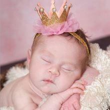 Recém-nascidos Coroa Tiara de Ouro da coroa da princesa Meninas Do Bebê Bonito Infantil Faixa de Cabelo Crianças Acessórios Para o Cabelo Crianças Foto Props 1 pc HB044(China (Mainland))