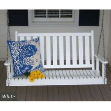 Asheboro 4 Foot Porch Swing Vertical Back Made In NC W Local Hardwoods