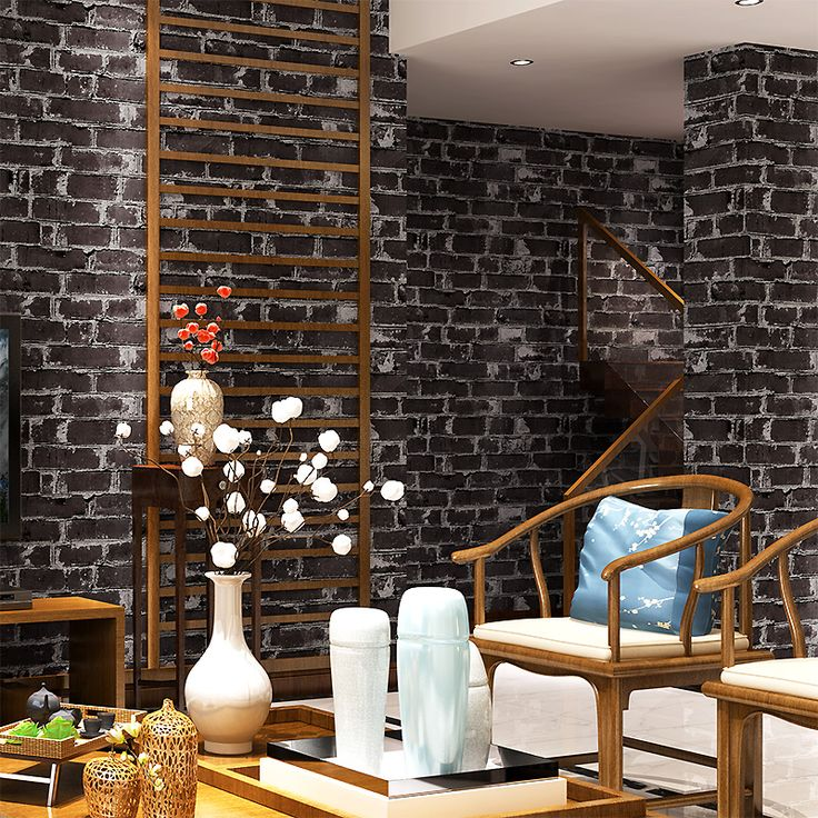 3D Waterproof PVC Brick Patterned Wallpaper New Chinese Restaurant Retro  Home TV Living Room Wallcoverring Background Part 92