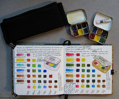 half pans in mint tins but having a color reference chart in your watercolor sketchbook is awesome