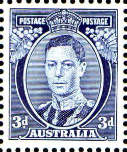 Australia -- King George VI -- 3d Blue
