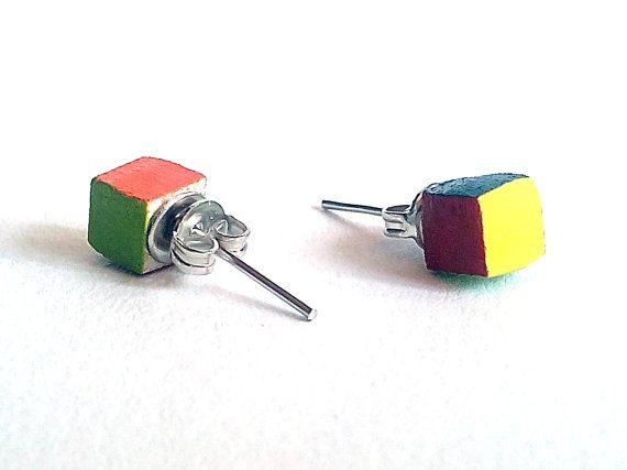 Laser cut woodRubik stud earringsear studsgeek by DigitalHandmade