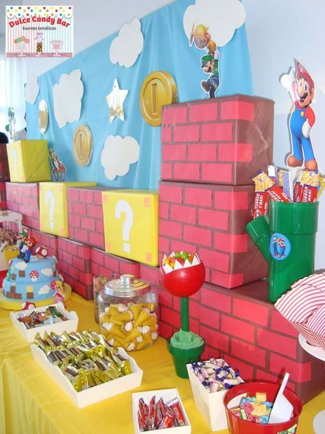 Super Mario Bros birthday party decorations! See more party planning ideas at CatchMyParty.com!