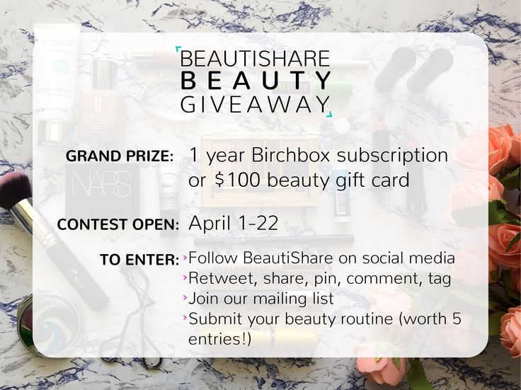BeautiShare's beauty giveaway is here! For entry info visit: http://beautishare.com/beautishare-giveaway... Good luck!!