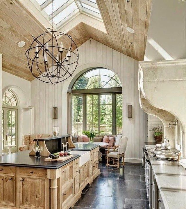 Dreamy kitchen needs a fireplace for grilling or just  to cozy up to.  frenchfarmhouse