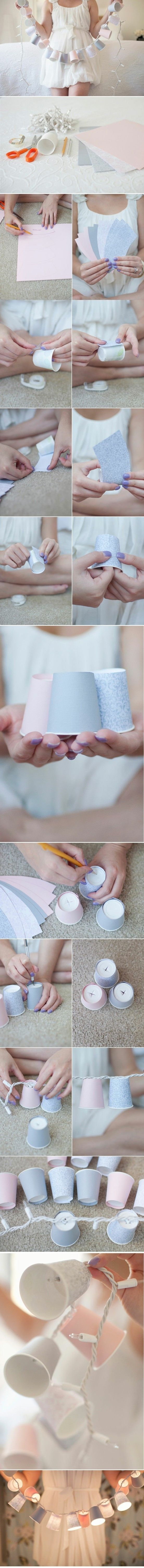 Cover Dixie cups with fancy paper to make small shades for string lights. | 46 Awesome String-Light DIYs For Any Occasion