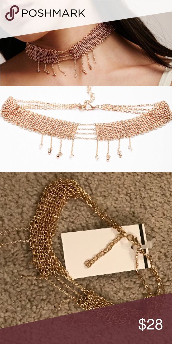 Free people tainted love chain dripping choker NWT (discount store) free people tainted love choker necklace rose gold Tone 🚫NO TRADES Free People Jewelry Necklaces