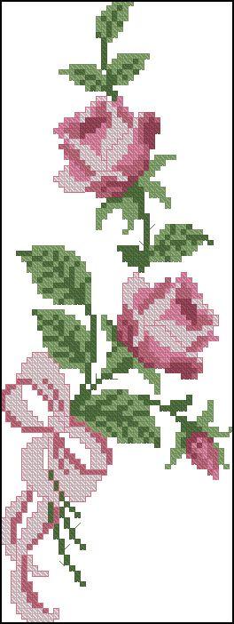 Rosa cor de rosa ponto cruz