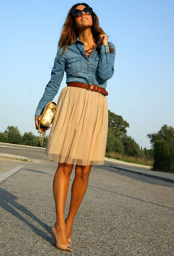 denim top + pretty skirt