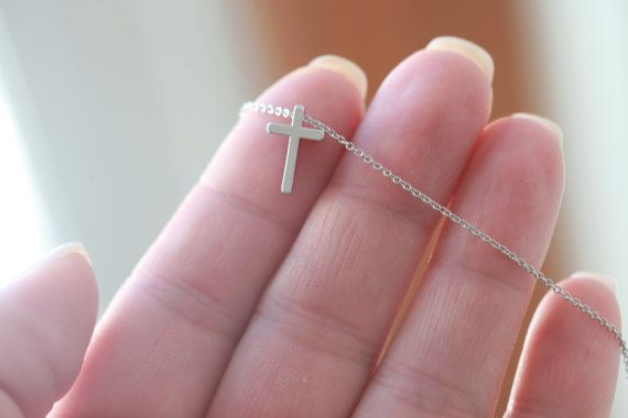 Tiny Silver Cross necklace  Small Silver Cross necklace  by Bijjou, $20.00