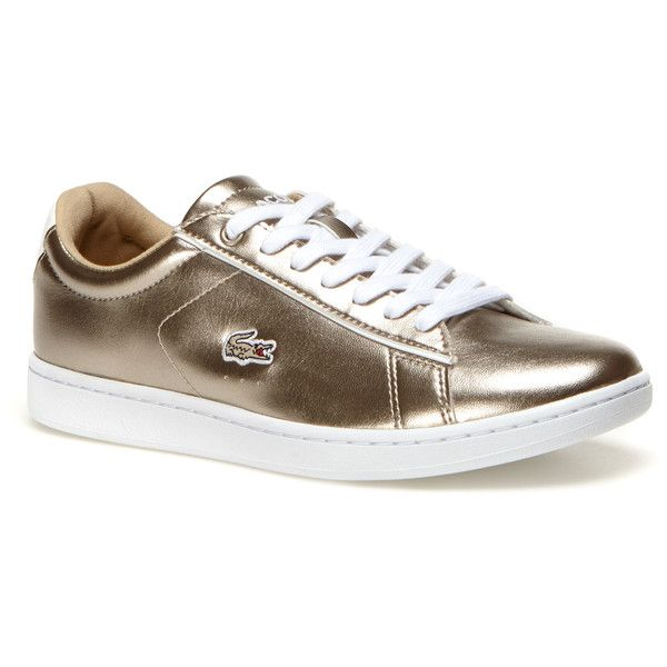 Lacoste XL Women's Carnaby Evo Low-Rise Metallic Leather Sneakers ($63) ❤ liked on Polyvore featuring shoes, sneakers, sneakers sneakers, real leather shoes, gray sneakers, leather trainers, lacoste trainers and grey leather sneakers