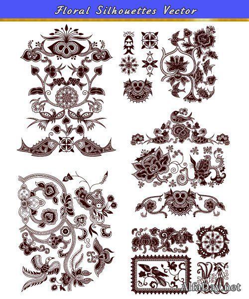 Винтажные узоры: птицы, рыбы, декоративные цветы - векторный клипарт на белом фоне