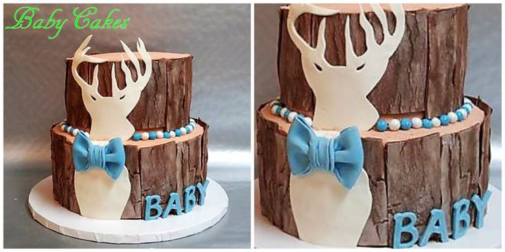 Deer themed weathered wood baby shower cake.