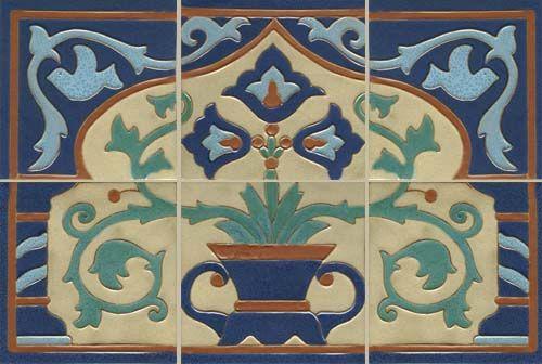 Arts & crafts blue floral mural