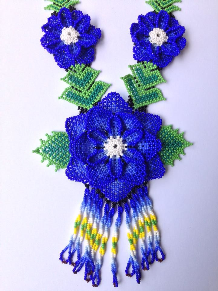 Light Blue Huichol Flower Necklace