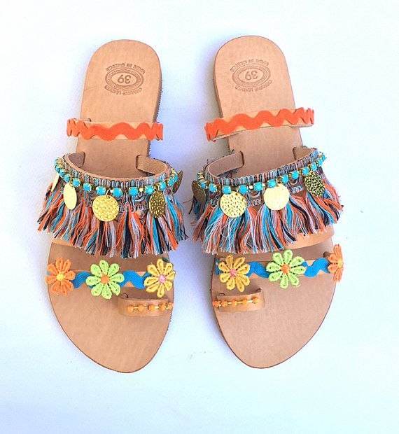 Handmade Leather Strappy Sandals Maui Colorful