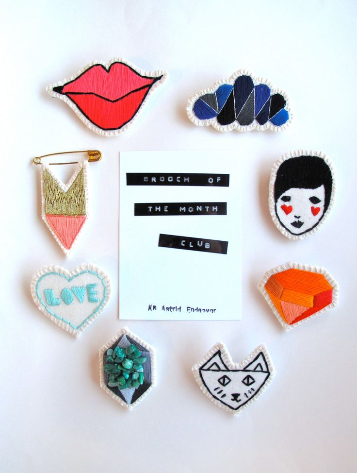 Brooch of the month club hand embroidered