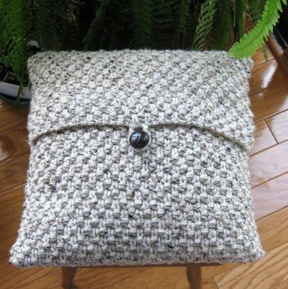 hand knit pillow cover