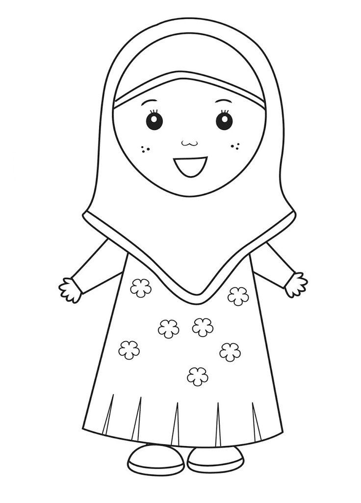 gambar-mewarnai-anak-muslim-9.png (812×1131) | Buku ...