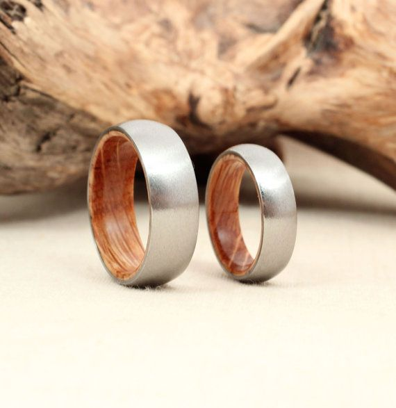 Matching Pair Titanium Lined Wood Rings By WedgewoodRings On Etsy This Are Made With Jack Daniels Barrel Oak