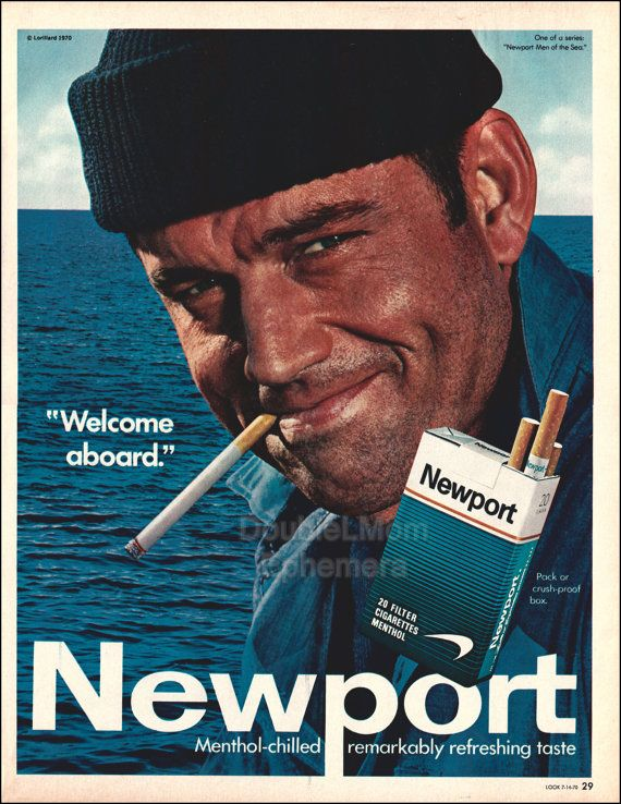 1970 Newport Cigarettes Ad// Vintage Retro Cigarette Ads // Sea Captain Fisherman Fishermen Wall Art // Nautical Wall Art // Man Cave Decor