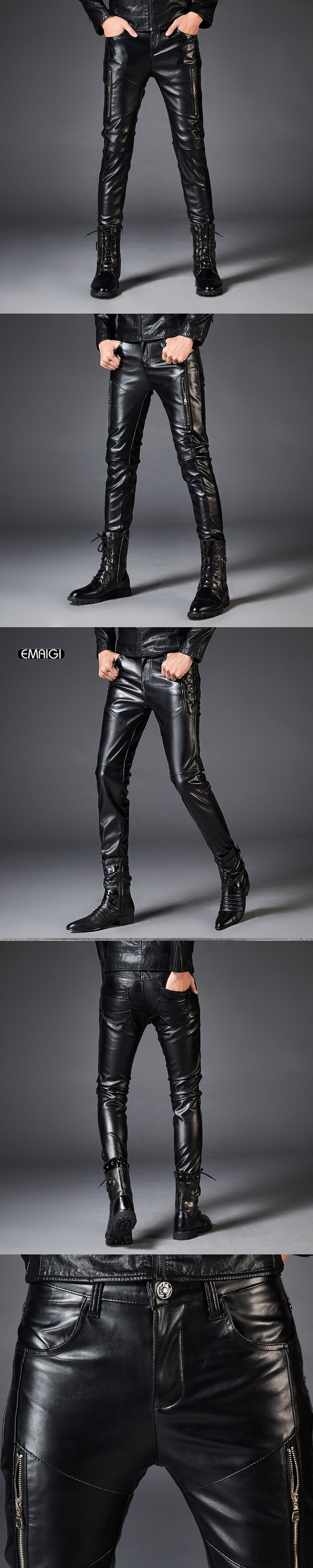 Zipper Splice Men Leather Pant Fashion Casual Slim Fit PU Leather Trousers Male Street Hip Hop Rock Motorcycle Pant