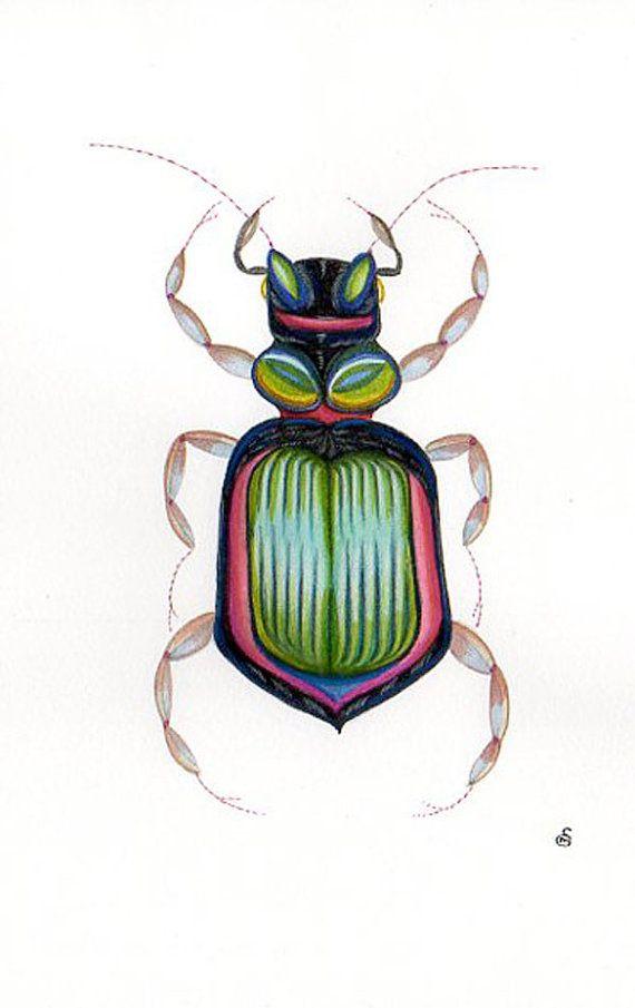 Impression dinsecte coléoptère vert. par swanboroughprints sur Etsy