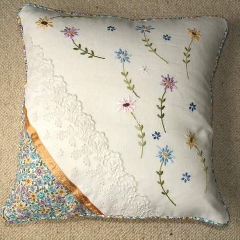 'Vintage Linen & Lace' Country Cottage Cushion