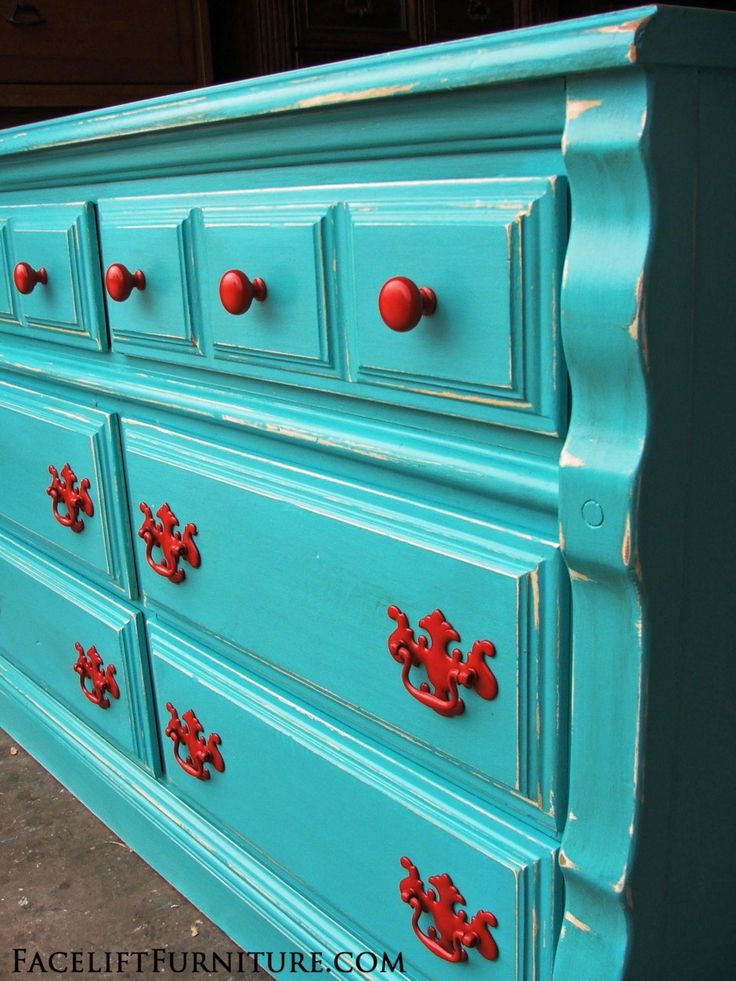 Distressed Turquoise Dresser with Paprika Pulls