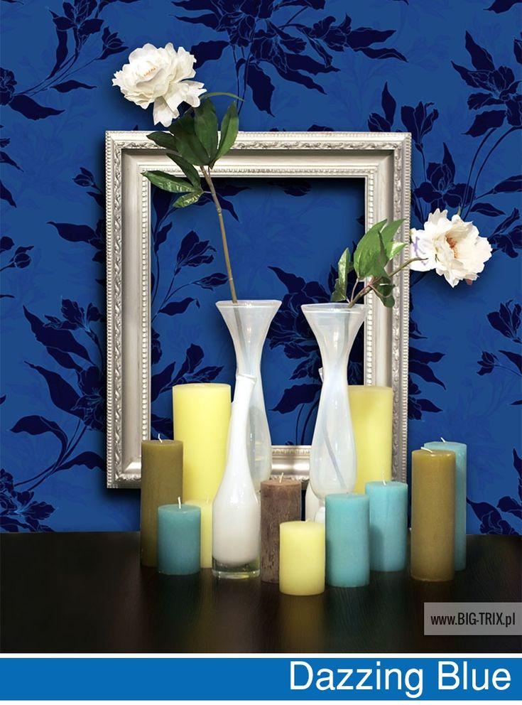 PANTONE 2014: Dazzing Blue floral wallpaper by Big-trix.pl | #pantone #pantone2014 #wallpaper #floral #dazzingblue