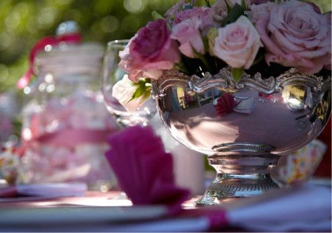 Pink Flowers in Elegant Bowl on the Table at Lanzerac Wine Estates