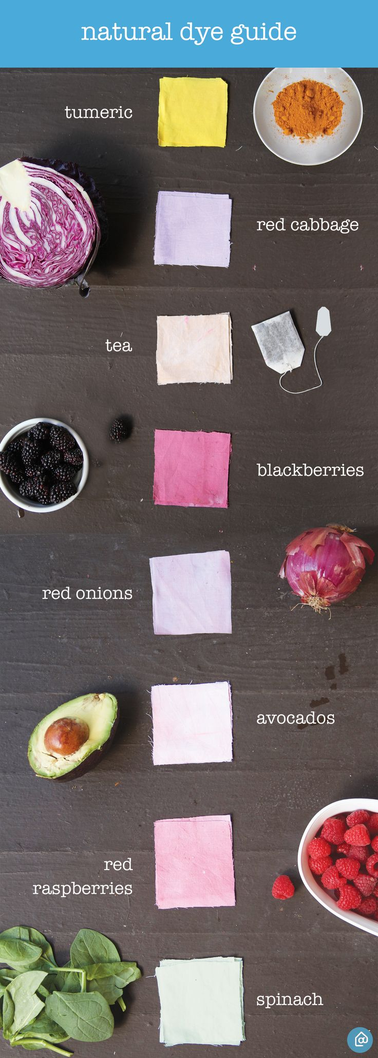 For a natural twist on tie dying, use berries and plants to tie dye shirts, cloth bags and more. Materials: salt fixative for berry dyes (½ c salt to 8 c of water), plant fixative for plant dyes (4 parts cold water to 1 part vinegar), fabric. Steps: 1) Soak fabric in fixative for an hour. 2) Squeeze out excess water and rinse in cool water. 3) Boil equal parts water and natural dye material of choice using our guide. Simmer for an hour. 4) Place wet fabric in dye bath. 5) Let soak overnight.