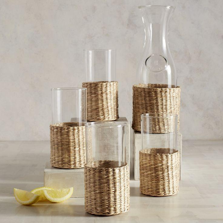 Wicker Carafe & Glass Set Clear