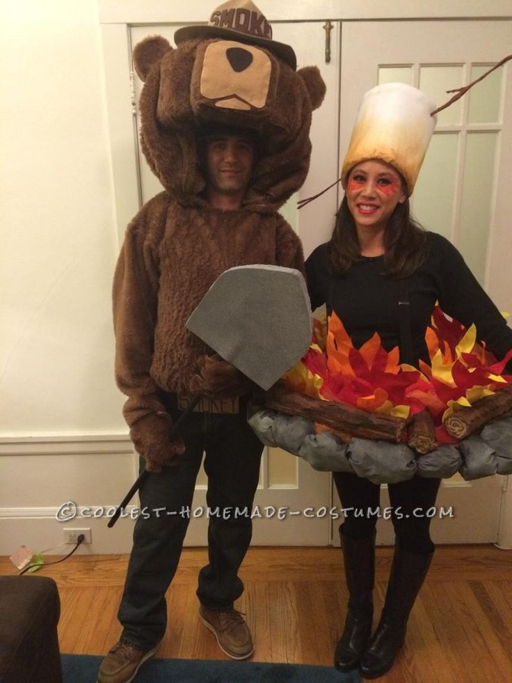 original smokey the bear and camp fire couple costume only you can prevent forest fires - Halloween Costume Fire