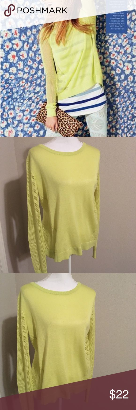 Cabi 199 split back sweater medium Beautiful transition piece to spring weather. This is a split back sweater. You will need to layer over another piece. This makes for a very fun outfit in its neon color. Nice comfy oversized at 21 across bust 26 inches long. Non smoking home. CAbi Sweaters