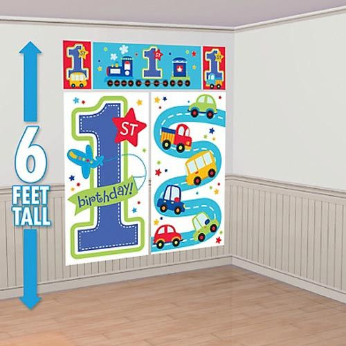Set the scene for your All Aboard 1st birthday party with this giant scene setter wall decorating kit that can be used indoor and outdoors. Great as a photo backdrop in white and light blue with buses