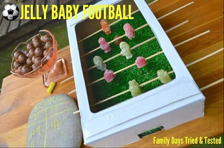 Jelly Baby Football, use upside down photocopy paper box lid. Each girl makes own team hold tournament, once out each girl gets to eat their team :-) world cup or Euros