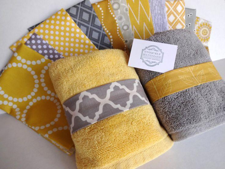 YOU PICK Custom Yellow and Grey Towels, custom grey and yellow bathroom hand towel, yellow and grey bathroom, yellow towel, grey towel