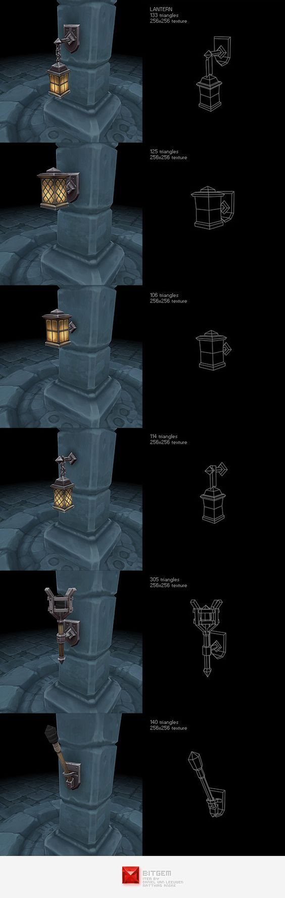Low Poly Lantern Set - 3DOcean Item for Sale: