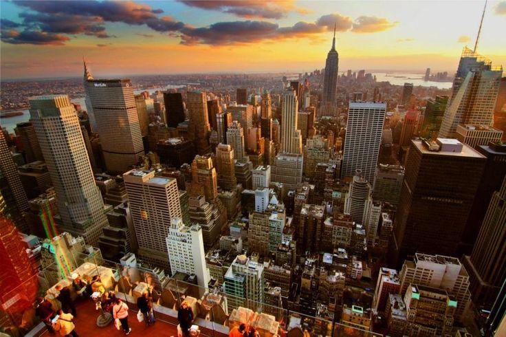 Orange #NewYork #Sunset over #Manhattan | Picfari.com