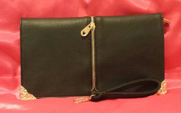 Susen Medium Clutch with Hand Strap, Gold Filigree Accents and Zip